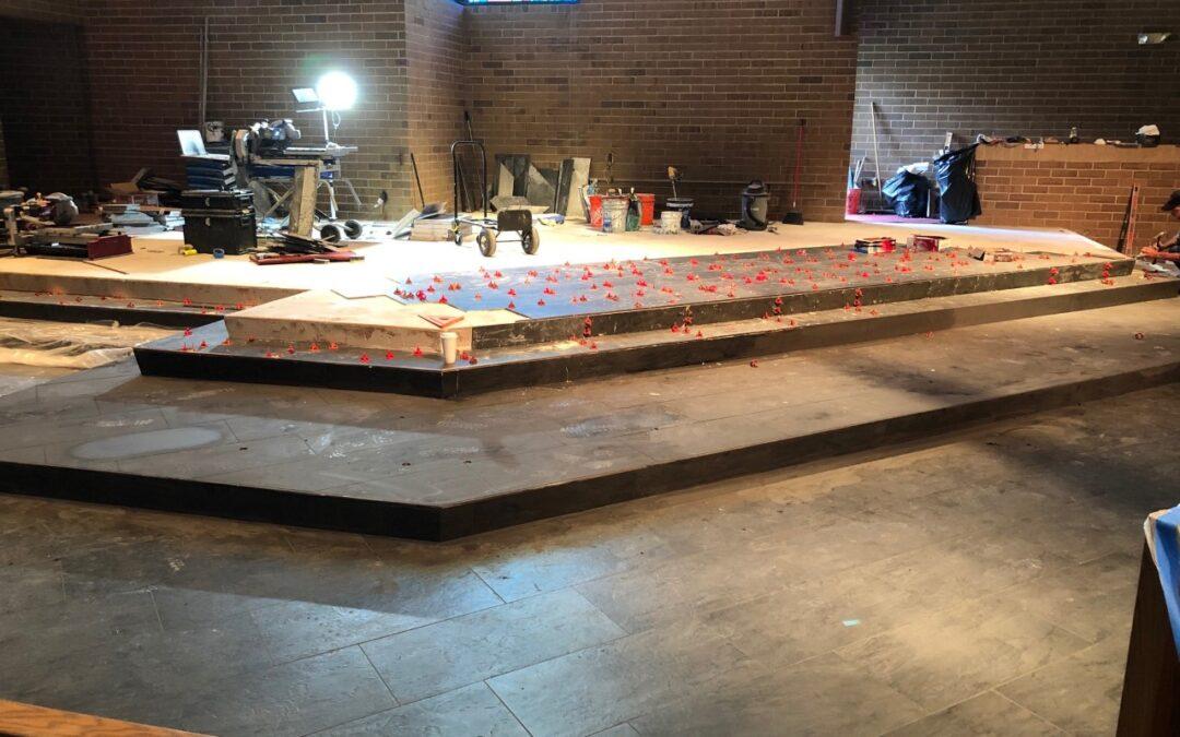 Work has begun on Sanctuary flooring